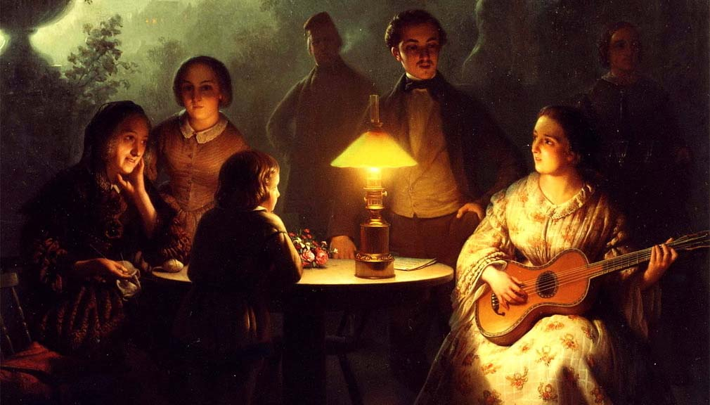A Summer Evening by Lamp and by Moonlight,  Petrus van Schendel
